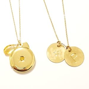 LOT OF 2 Necklaces Gold Toned Locket Initial